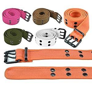 Double Hole Grommets Canvas Web Belts Men or Women Military Style 2 Prong Buckle by Belle Donne
