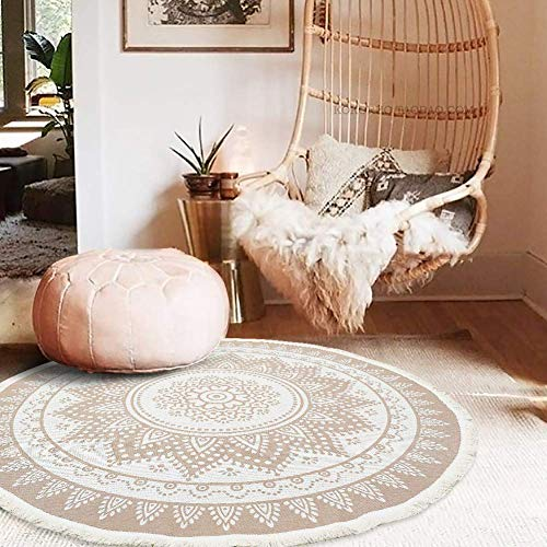 idee-home Cotton Woven Round Area Rug | Morocco Mandala Floral Throw Rugs with Cute Tassels Fringe, Bedroom Living Room Children Playroom, Durable Heavy Fabric, 3.9 Feet