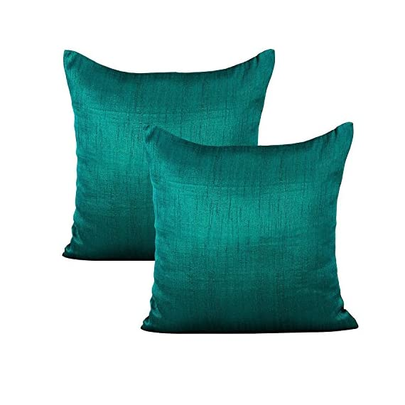 The White Petals Dark Teal Throw Pillow (Set of 2 Covers, Faux Raw Silk, Dark Teal, 18x18 inches) - INCLUSIONS- 2 Dark Teal throw pillow covers of size 18x18 inch or 45x45 cms. INSERTS/ FILLERS are NOT INCLUDED. MULTIPURPOSE USE- These Dark Teal throw pillow covers are perfect for bedroom, living room, guest room, kids room, dorm room. PREMIUM QUALITY: The fabric is top notch & stitching impeccable. Both the front & back of the pillow covers are made using same Dark Teal colored fabric. The zipper at the back ensures easy removal & insertion of the filler. - living-room-soft-furnishings, living-room, decorative-pillows - 51GcYiTwUYL. SS570  -