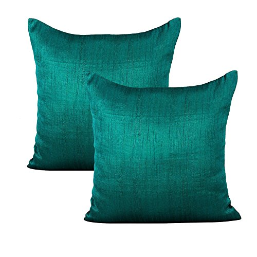The White Petals Dark Teal Euro Sham (Set of 2 Covers, Faux Raw Silk, Dark Teal, 26x26 inches)