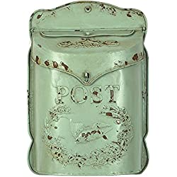 Creative Embossed Tin Letter Box, Aqua - 10.5 x 15.25 Inch