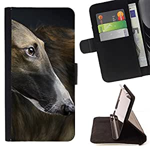 Momo Phone Case / Flip Funda de Cuero Case Cover - Greyhound Racing Grey Dog Canine Pet; - Sony Xperia Z5 5.2 Inch (Not for Z5 Premium 5.5 Inch)