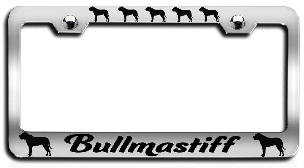 BULLMASTIFF DOG DOGS BLACK Metal License Plate Frame Tag Holder