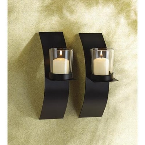 Amazon.com: Gifts U0026 Decor Modern Art Candle Holder Wall Sconce Plaque, Set  Of 2: Home U0026 Kitchen