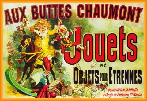 Vintage Poster and Frame (Plastic) - Aux Buttes Chaumont, Jouets Et Objets Pour Étrennes, Jules Cheret, 1885 (36 x 24 - Anniston Style Jennifer