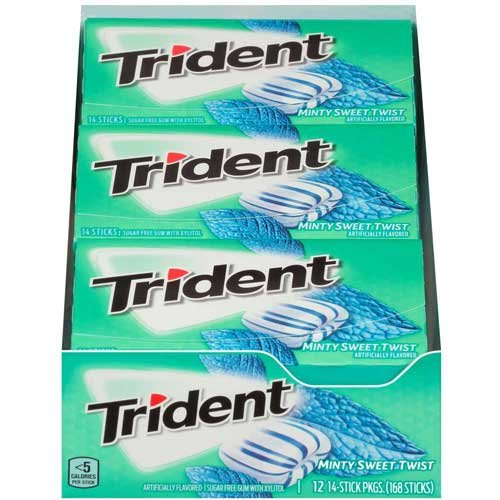 Price comparison product image Trident Mint Sweet Twist Sugar Free Gum, 14 count per pack -- 144 per case.