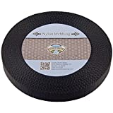 Country Brook Design 1 Inch Black Heavy Nylon Webbing, 20 Yards