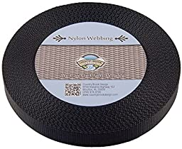 Country Brook Design 1 Inch Black Heavy Nylon Webbing, 10 Yards