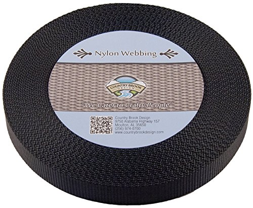 Country Brook Design 5/8 Inch Black Nylon Heavy Webbing, 10 Yards