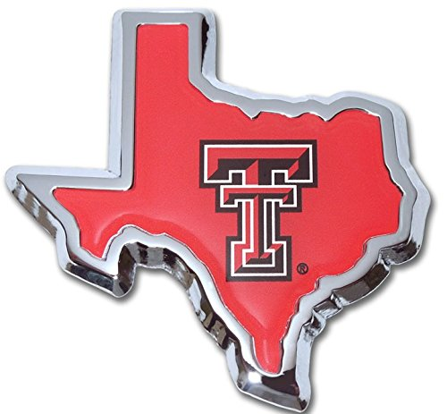 Texas Tech University Red Raiders METAL Auto Emblem - Many Different Colors Available! (State Shaped Red Domed)