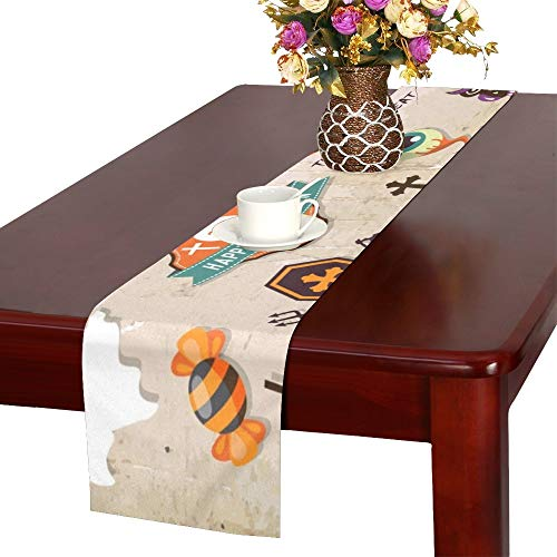 Happy Halloween Design Elements Halloween Design Table Runner, Kitchen Dining Table Runner 16 X 72 Inch for Dinner Parties, Events, Decor ()