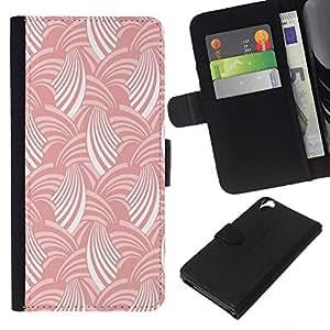 Stuss Case / Funda Carcasa PU de Cuero - Blanco Rosa raya el modelo del arte del papel pintado - HTC Desire 820
