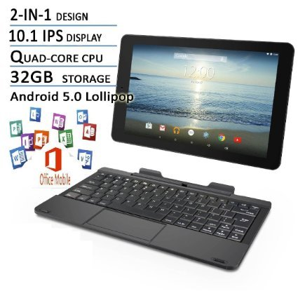 RCA Viking Pro Flagship Black Edition 10.1 Touchscreen 2 In 1 Tablet Laptop, Detachable Keyboard, Quad-Core Processor,32G storage, IPS Display, Android 5.0 Lollipop