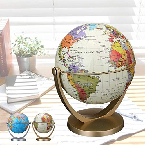 360 Dregee Rotating Globes Earth Ocean Globe World Geography Map Table Desktop - Lab & Scientific Supplies Science Education - (white) - 1 x World Globe ()