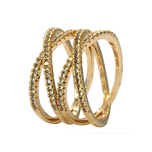 Cross Cocktail Ring (Double X Cross CZ Rings Criss Wedding Party Engagement Statement Micro Pave Clear Cocktails Gold Plated for Women Bridal Size 6 - 9 (Gold, 8))