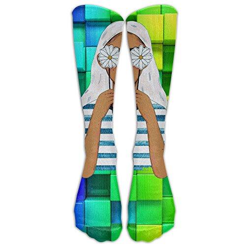 Flower Girl Socks (1 Pair) Knee Socks Comfort Stretch Volleyball Compression Socks For Girls - Best For Running, Athletic Sports, Crossfit, Flight Travel - Suits Nurses - Below Knee High Sock Stocking