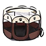 IDS Home Pet Cage Foldable 600D Oxford Fabric Breathable Mesh Waterproof Outdoor Travel Easy to Carry - Coffee + Beige