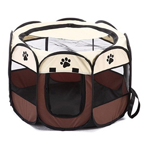 IDS Home Pet Cage Foldable 600D Oxford Fabric Breathable Mesh Waterproof Outdoor Travel Easy to Carry - Coffee + Beige by IDS Home