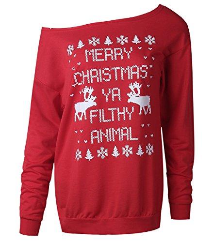 larga de copos pared la Traje de la la de los manga Traje nieve Bambi Santa de Navidad reno mujeres de del de de Red reno Scothen con el del suéter retro de las de Navidad suéter del la oscilación jersey wtWpx8qRtY