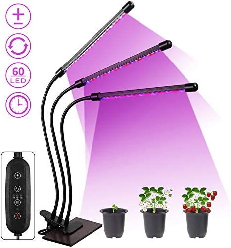 Grow Light for Indoor Plants, Aidyu 60pcs LED Full Spectrum Plant Bulbs with 3 9 12H Timer, 8 Dimmable Level, 3 Lighting Modes for Indoor Hydroponics Greenhouse Gardening Plants