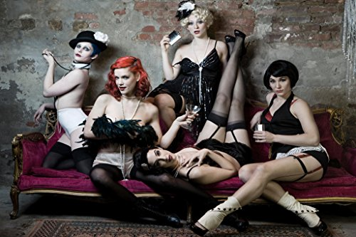 Five Hot Sexy Women in Burlesque Style Outfits Photo Art Print Poster 18x12