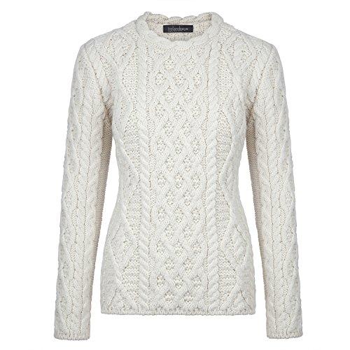 Donegal 100% Irish Merino Wool Ladies Aran Sweater with Lambay Stitching by Ireland's Eye by The Irish Store - Irish Gifts from Ireland