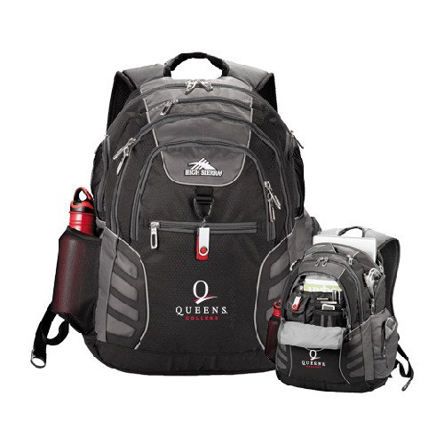 Queens College High Sierra Big Wig Black Compu Backpack 'Official Logo' by CollegeFanGear