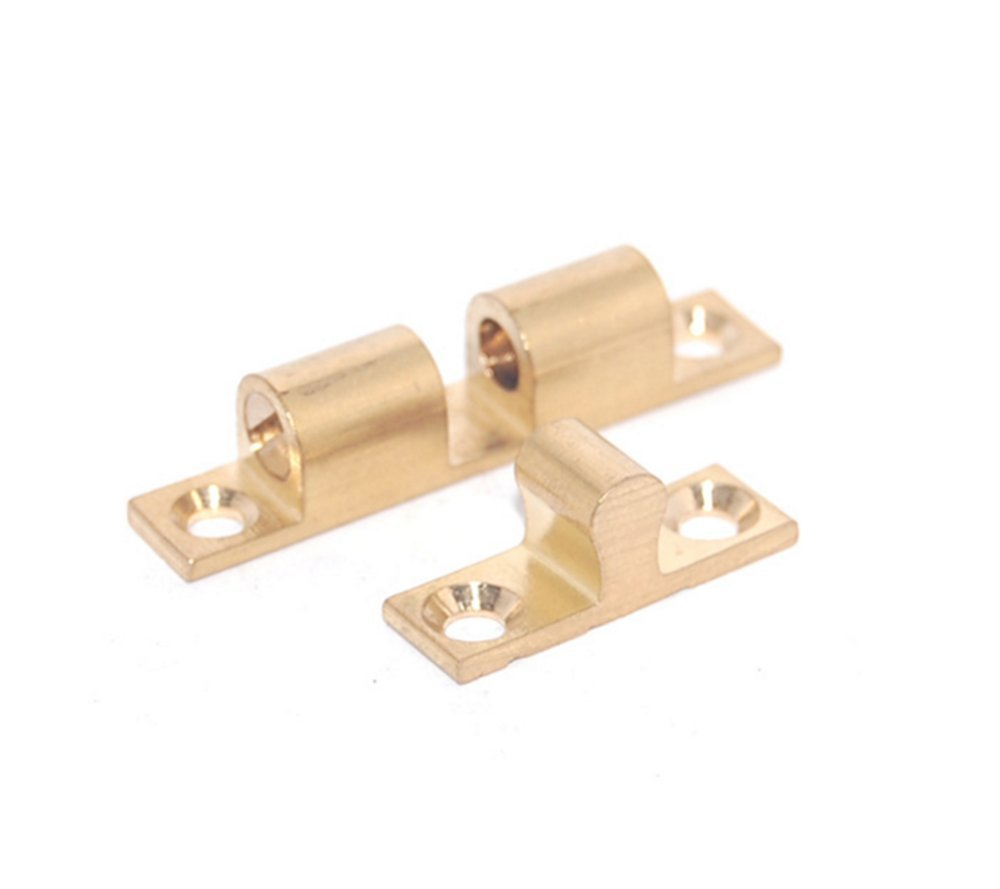Cabinet Door Double Ball Roller Catch,Closet Tension Brass Ball Latch,1.7-inch Length Gold Tone - Pack of 2 (12300:1.7'')