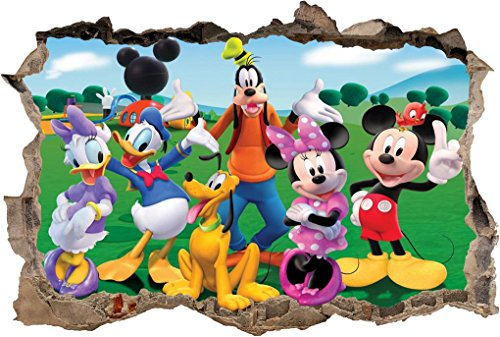 Mini Mural Wall (Mickey Clubhouse Smashed Wall Decal Graphic Wall Sticker Art Mural Disney H795, Mini)