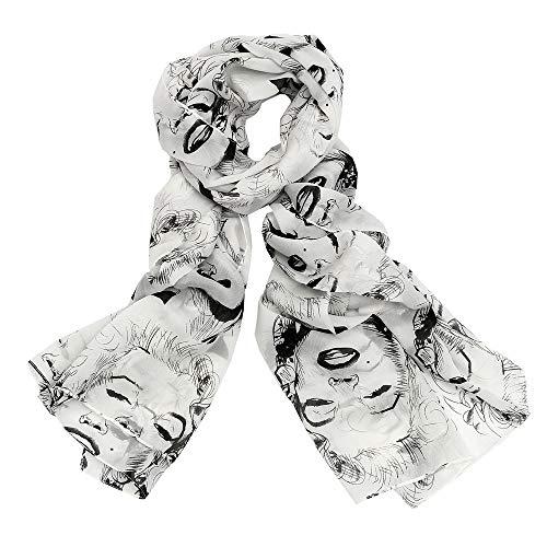 JewelryWe Lightweight 2014 Women's Gauzy Marilyn Monroe & Boutique Designs Long Silk Blend Chiffon Scarf Wrap Shawl Christmas Gifts (Xmas Marilyn Monroe)