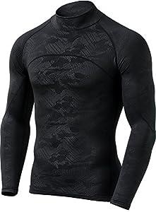 CQ-HUT302-BLK_Small CQR Men's Thermal Wintergear Compression Baselayer Mock Long Sleeve Shirt HUT302