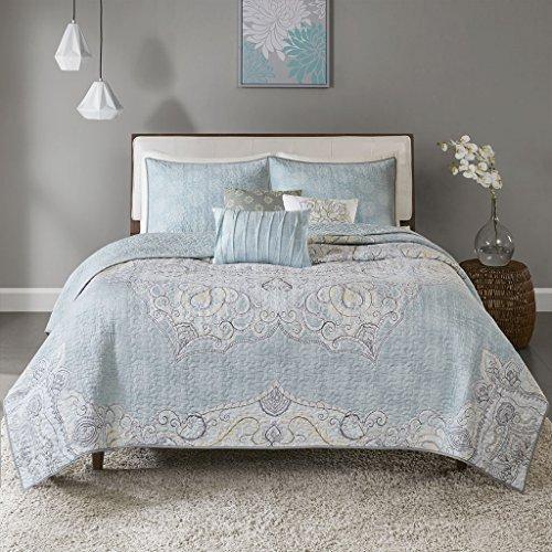 (Madison Park Lucidnda 6 Piece Reversible Cotton Sateen Quilt Set Coverlet Bedding, King/Cal King Size, Seafoam)