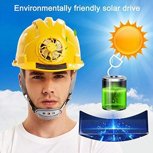 ZOOMY Amarillo Casco de Seguridad con Ventilador de energ/ía Solar Casco de Trabajo Sombrero Duro Casquillo Proteger la Cabeza