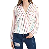 Besooly Women Office Shirt Striped Blouse Tops V-Neck Sweatshirt Long Sleeve T-Shirt Tops Coat Sweater