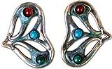 Egyptian Lotus Heart Earrings - Carnelian, Malachite, Turquoise