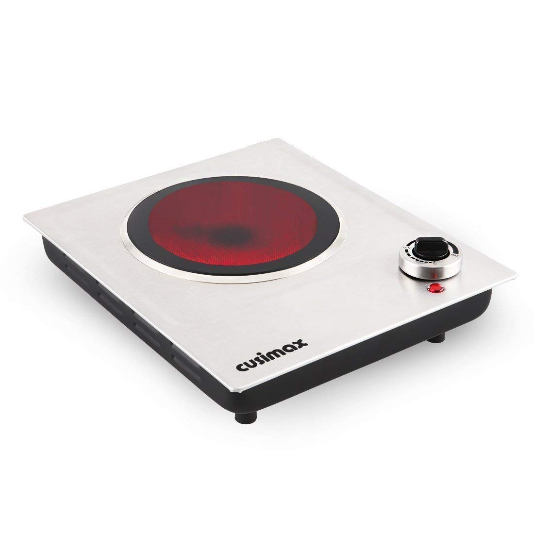 Cusimax 1200W Single Countertop Burner, Portable Ceramic Infrared Cooktop, CMIP-C120, Stainless Steel