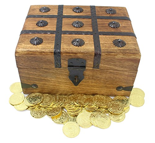 50 Large Pirate Coins Metal Plus XL Wooden Treasure Chest Gold Silver Doubloon Replicas By - Treasure Chest Big