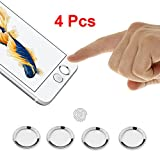 iPhone Home Button, (4 Packs) BUTEFO Touch ID Home Button Sticker for iPhone (Silver+White)