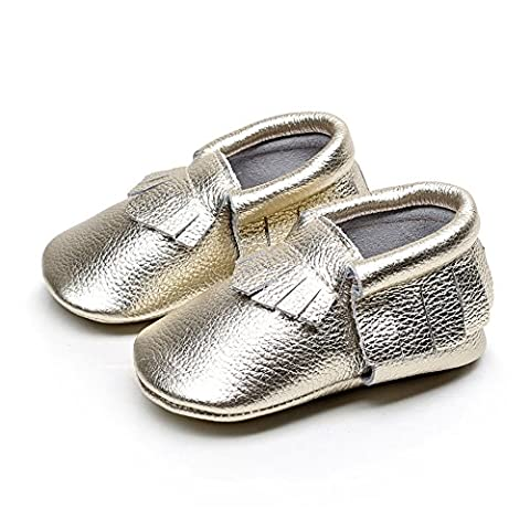 EQUICK Genuine Leather Baby Moccasins Infant Toddler shoes for Boys Girls, CB08, Bright gold, 24-30 - Leather Baby Moccasins