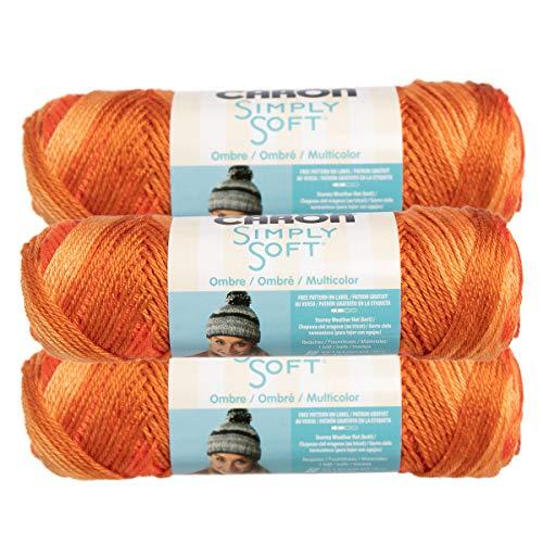 Caron (3 Pack Simply Soft 100% Acrylic Soft Gold Orange Yarn for Knitting Crocheting Medium #4
