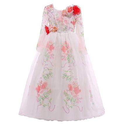 ELSA & ANNA® Princesa Disfraz Traje Parte Las Niñas Vestido Belle Vestido (Girls Princess Fancy Dress) ES-BEL01 (2-3 Años, Blanco)