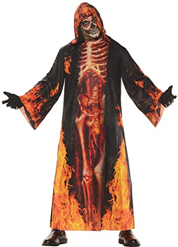 Men's Underworld Hell Robe Horror Skeleton Adult Outfit Halloween Costume