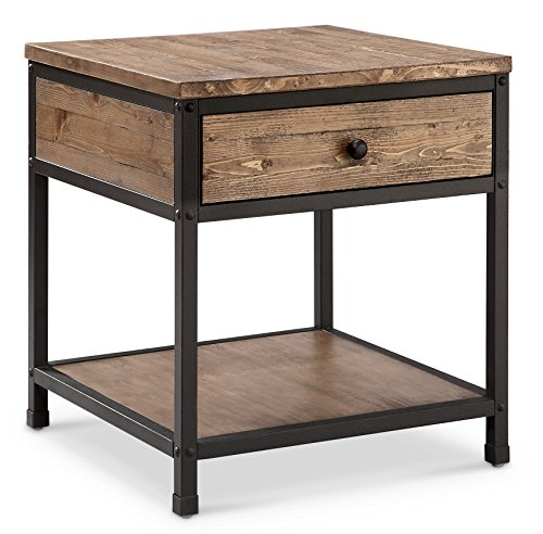 Magnussen Square End Table - Magnussen T4039-01 T4039 Maguire Industrial Square End Table in Weathered Barley Finish