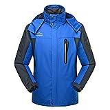 Cranelin Men's Ourdoor Hiking Jacket Sportswear Hooded Softshell Raincoat Waterproof Jacket CHW9929-Blue-XXXXL