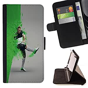 DEVIL CASE - FOR Samsung Galaxy S4 Mini i9190 - Football Soccer Star Player - Style PU Leather Case Wallet Flip Stand Flap Closure Cover