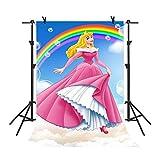 MME Backdrop 5x7ft Blue Sky Rainbow Background Disney Cartoon Princess Children Photography Seamless Vinyl Photo Studio Props Backdrop NANME765