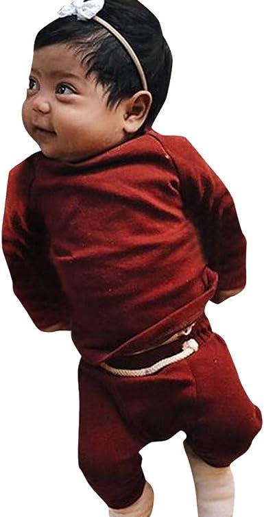 I Pantaloni Vestiti Completo Colore Solido Bambino Cotone Super Confortevole da 0-24 Mesi for Panico Festa Watopi Neonato Manica Lunga Gilet T-Shirt Cravatta Cime