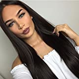 #6: Long Straight Wig for Women Middle Part Heat Resistant Wigs Natural Black Color Synthetic Party Wigs with Free Wig Cap