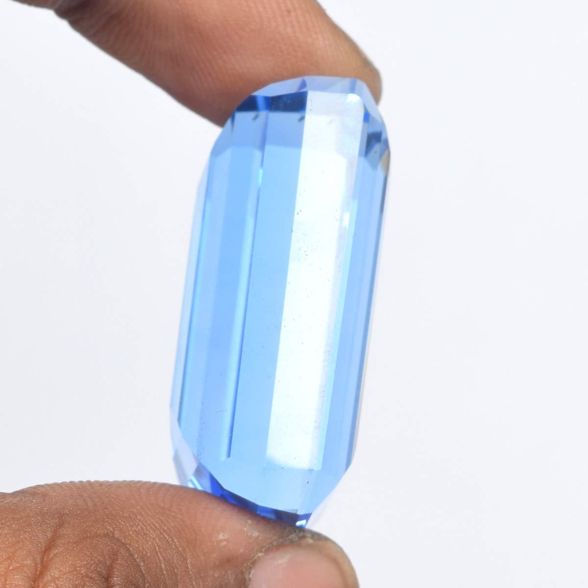 Pierre pr/écieuse en Vrac avec Topaze taill/ée en /émeraude pour la Fabrication de Bijoux REAL-GEMS Topaze Bleue /à facettes 100.10 CT