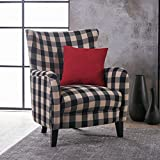 Christopher Knight Home 301061 Arador Fabric Club Chair, Black/White Plaid